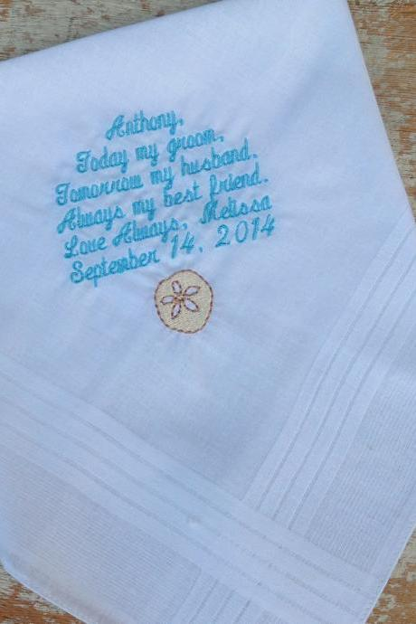 GROOM from BRIDE Wedding heirloom handkerchief custom embroidered personalized beach theme hankie gift embroidery