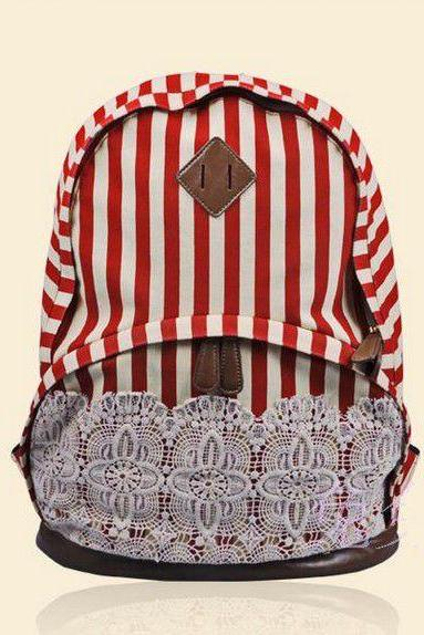 Canvas Red Striped Lace Backpack