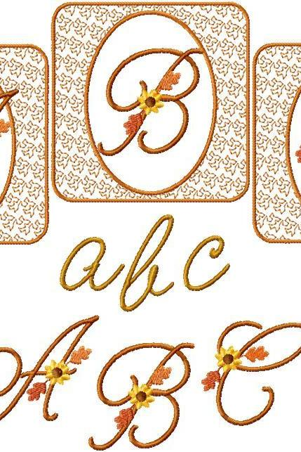 4x4 Fall Script Alphabet Autumn Font Set Machine Embroidery Designs