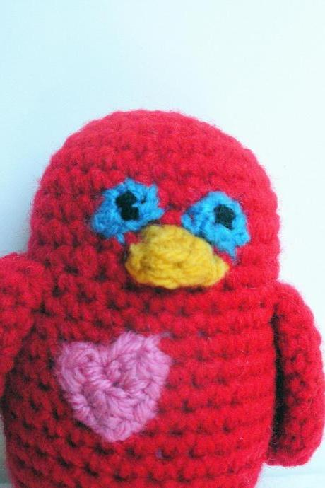 Little Red Love Bird, Amigurumi Plush Crochet Bird, ready to ship.
