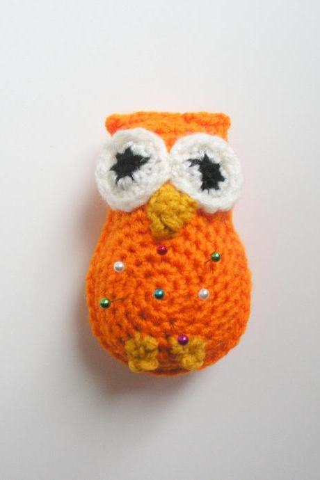 Bright Orange Owl Pincushion, small plush crochet owl pin cushion, ready to ship.