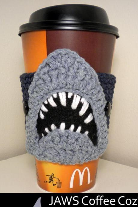 JAWS Coffee Cozy Crochet Pattern