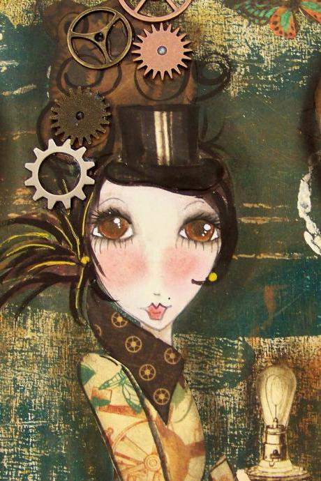 Discover Steampunk mixed media print