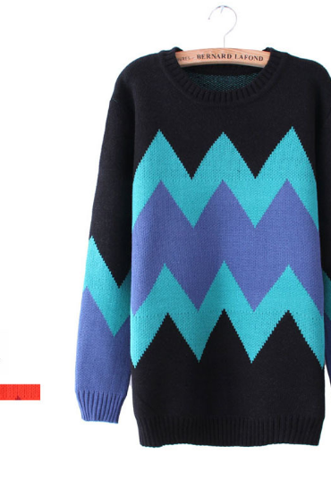 Black Sweater with Blue Chevron Pattern