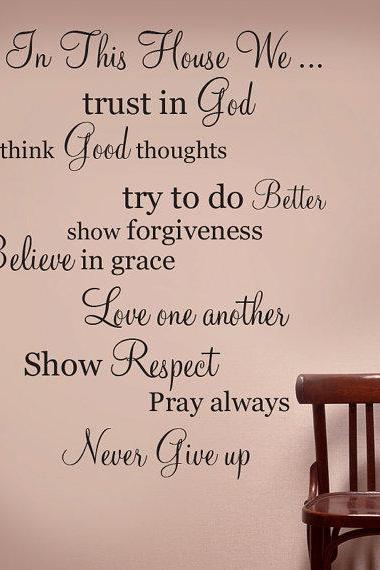 IN THIS HOUSE Wall Words Vinyl Decal Religion Rules Quote - Wall Decor Lettering Art
