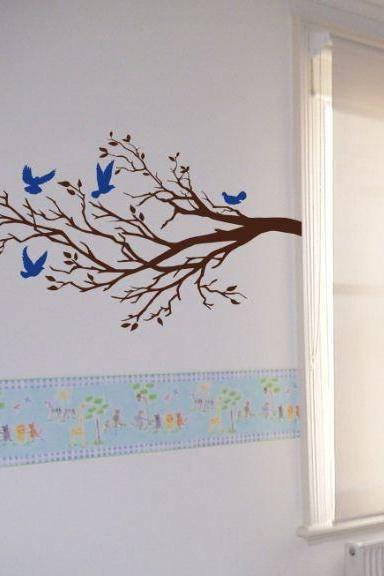 Wall Art Vinyl Decal FIVE BIRDS And BRANCH, Tree, Wall, Room Decor