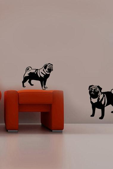 Cute pug dogs wall decal high quality vinyl dog wall window decals sticker