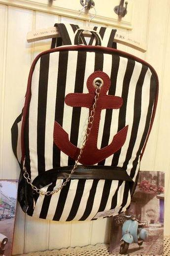 Black Striped Large Anchor Backpack with Chain