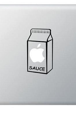 Buy 2 get 1 Free Apple Sauce, Juice Box Vinyl Sticker, Decal for Macbook, Macbook Pro, IPad, Laptops