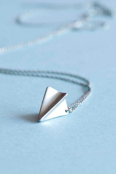 Silver Paper Airplane Necklace, Origami Aeroplane Charm, Harry Styles Inspired