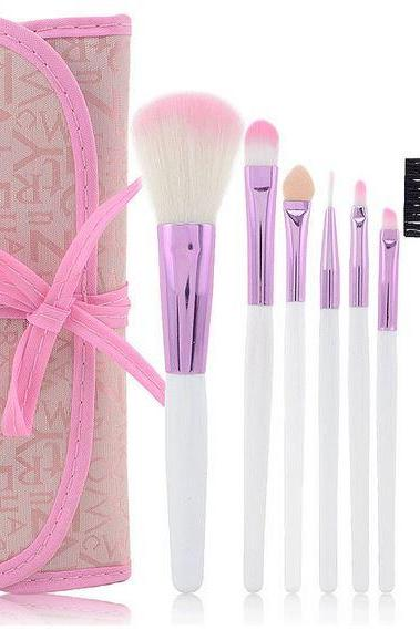Blush Pink 7 Piece Natural Hair and Wood Professional Makeup Brush Set
