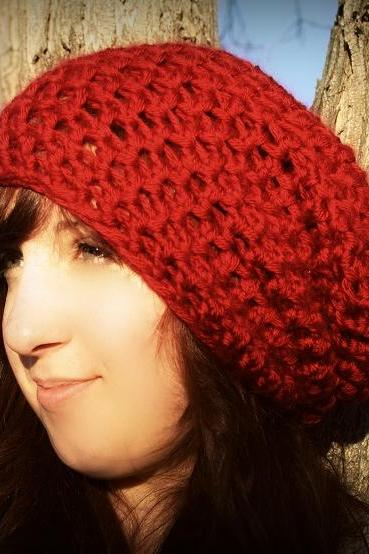 SALE Deep Red Oversize Slouch hat