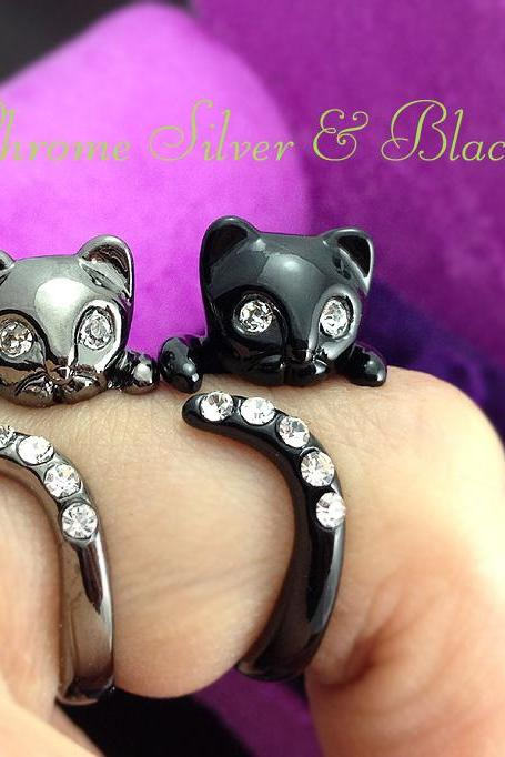 Kitty Cat Ring Chrome Dark Silver or Black Kitty Cat Ring Swarovski Crystals Adjustable Free Size Wrap Ring Kitten