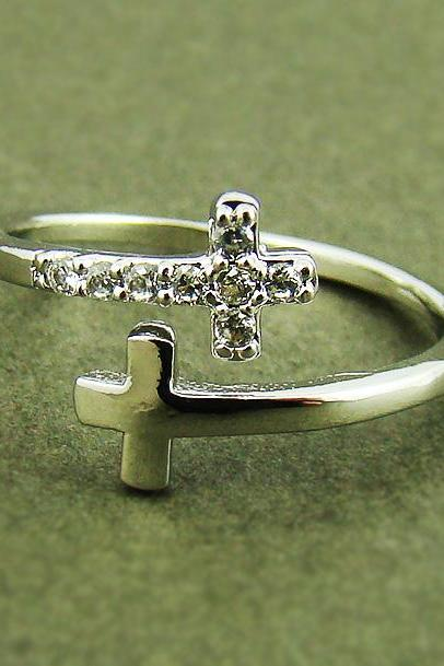 Women's Teen's Sideways Double Cross Ring with Crystal Silver Rhodium Plated Size Adjustable RC10