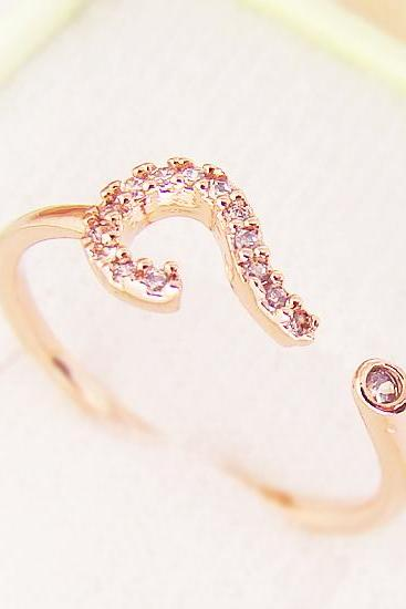 Women's Teen's Ring Jewelry Pink Rose Gold Question Mark Crystal Wrap Ring Size Free Adjustable