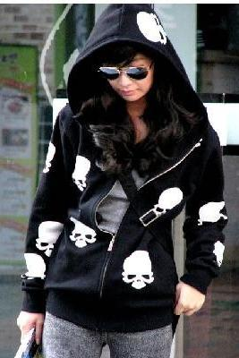Black w/ White Skull Hoodie (Medium/Large)