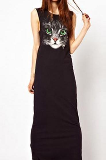Black Sleevless Cat Long Dress