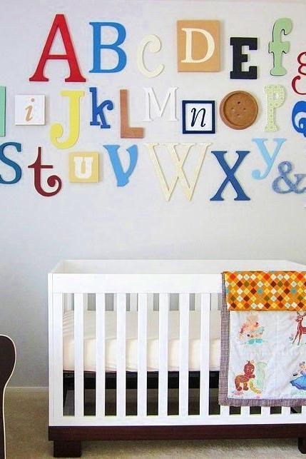 "Alphabet Set -Wooden Letters -Alphabet Wall-ABC Wall- PAINTED 12"" to 6"" letters various thicknesses"