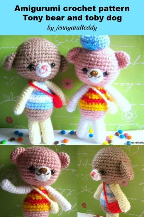 pdf little dog and bear amigurumi crochet pattern-luulla