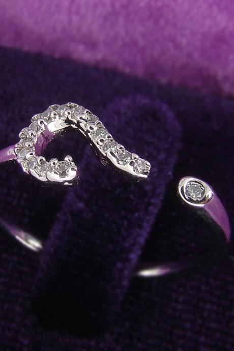 Women's Teen's Ring Jewelry White Silver Question mark Crystal Wrap Ring Size Free Adjustable