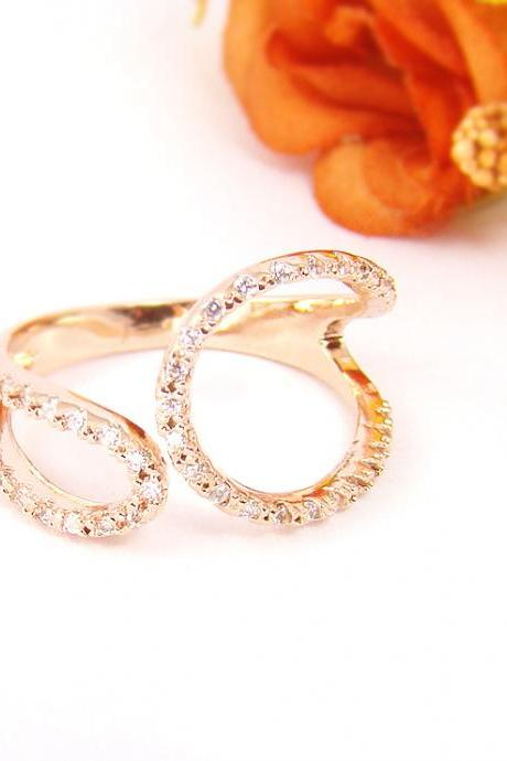 Women's Teen's Ring Jewelry Pink Rose Gold Unbalanced Oval Line Crystal Wrap Ring Size Free Adjustable