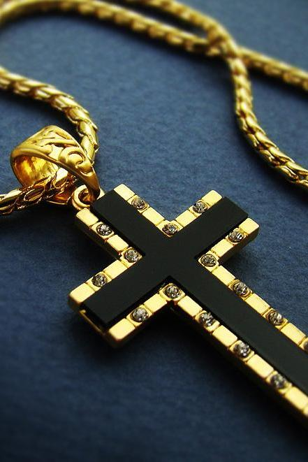 1.57' Mens Cross Pendant necklace 18K Gold Plated Mens Black Onyx Cross Chain Necklace Cubic Zirconia 24B