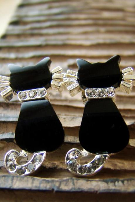 Women's Kitty Cat Earrings Black Onyx Swarovski Crystal Sterling 925 Silver Sutd Nickel Free