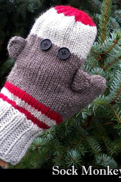 Sock Monkey Mittens Knitting Pattern
