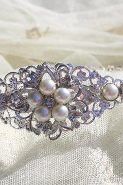 Bridal Headband - Wedding Headband- Rhinestones and Pearls Headband--Bridesmaid Headband- Flower Girl Headband- Prom Headband