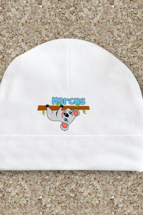 Baby clothes, baby hat, personalized, white cotton cap, baby shower