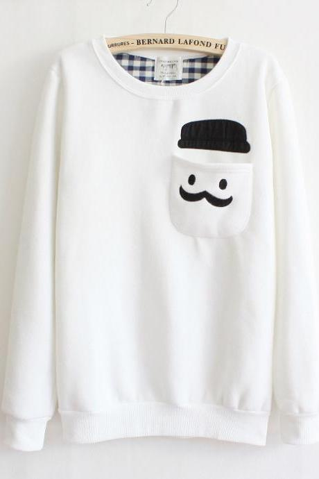 White Thickened Cashmere Fashion Doll Head Sweater