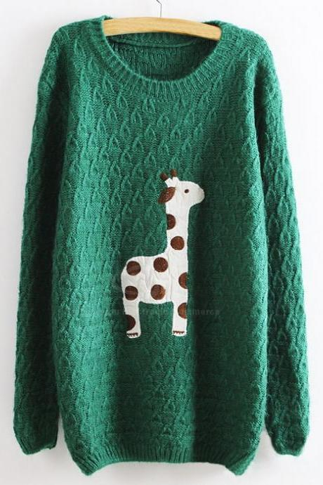 Green Super Adorable Cartoon Giraffe Loose Pullover Sweater