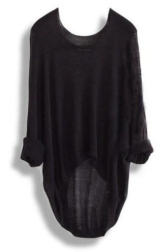 Black Batwing Casual Loose Asymmetric Sweater