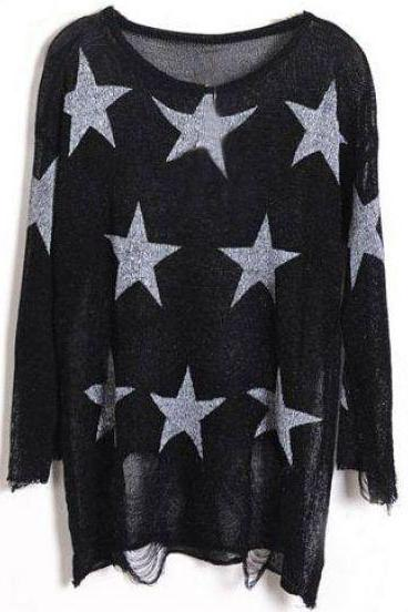 Black Star Print Long Sleeve Ripped Distressed Jumper Sweater