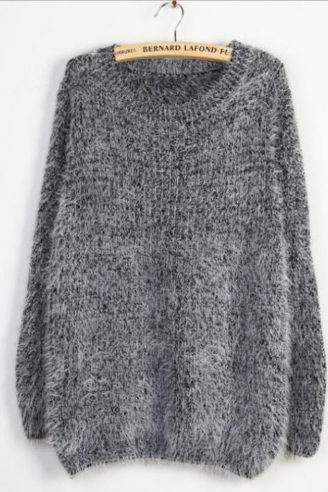 Grey Loose Fitting Long Sleeved Mohair Wool sweater
