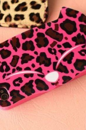Cute Hot Pink Leopard Kitty Soft Case For iPhone 5