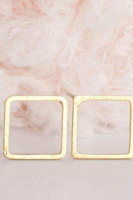 Gold Open Square Stud Earrings, Hollow Frame Ear Posts, Minimalist Geometric