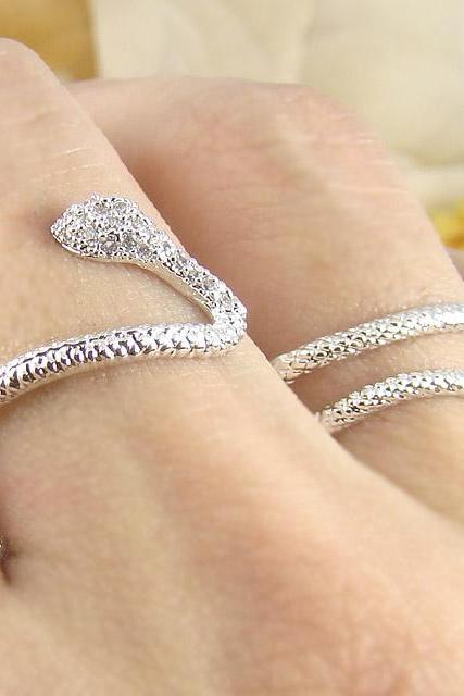 Women's Teen's Snake Ring Wrap Two Fingers with Crystal Silver Rhodium Plated Size Adjustable