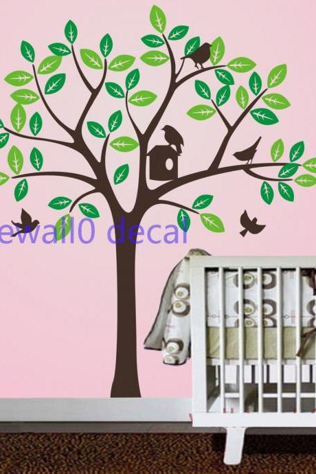 two set leaves tree with bird birdhouse birds leaf room house wall sticker Art Murals stickers decal decor removeable 6613