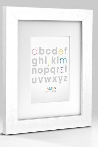 Personalized ABC Typography Name Baby Birth Announcement Alphabet (White) 8x10 Nursery Art Print