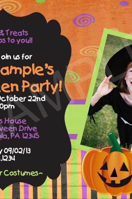 Halloween Photo Birthday Invitation (Digital File)