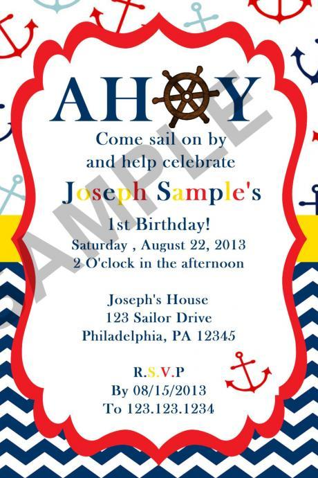 Nautical Sailor Birthday Invitation (Digital File)