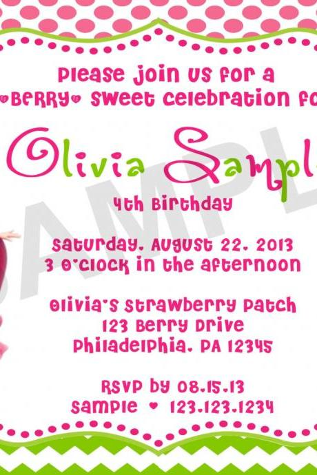 Strawberry ShortCake Birthday Invitation (Digital File)