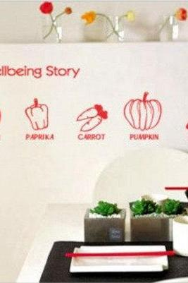 wellbeing store vegetables pumpkinVinyl Wall Decal Sticker kitchen living bed room baby room paste Art decor Home Murals 201