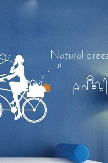 bicycle girl bike Vinyl Wall Decal Sticker kitchen glass stairs sticker Art Home Murals 091