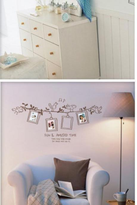 fun cute bird camera photo frame on wall flower vine with words word Vinyl Wall Decal Sticker living room bed room Art Home Murals 253