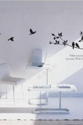 tree branch with bird birds fly flying words word Vinyl Wall Decal Sticker glass window living bed room baby paste Art decor Home Murals 205