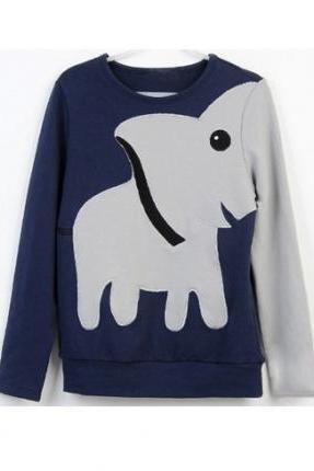 A071023 Fun Elephant Pattern Long-sleeved Pullover Sweater Leisure826