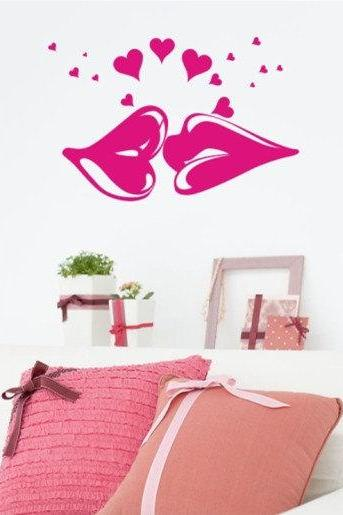kissing lip kiss Vinyl Wall Decal Sticker living room bed room glass window stairs sticker Art Home Murals 115