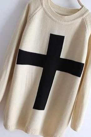 Cross sweater, Loose sweater826 A 071005
